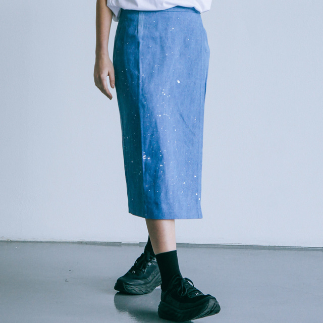 피그밀리언PIGMILLION x DOPAMIN.C Splash Denim Wrap Skirt 데님스커트 치마