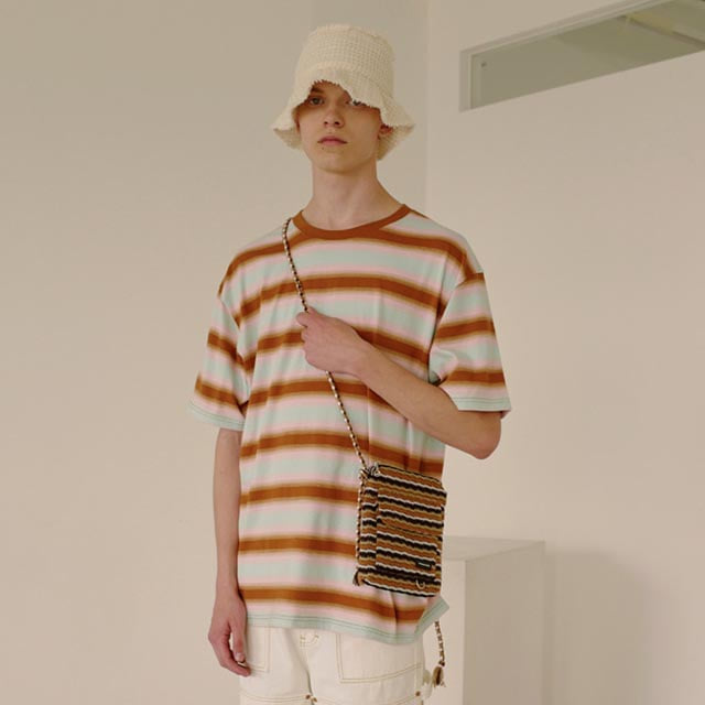 앤더슨벨UNISEX GRADATION STRIPE T-SHIRT atb315u BROWN PALE JADE PEACH PINK반팔 반팔티